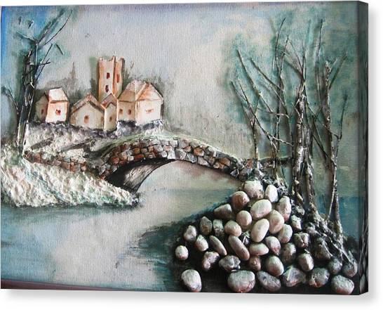 Snowy Village Canvas Print by Rejeena Niaz