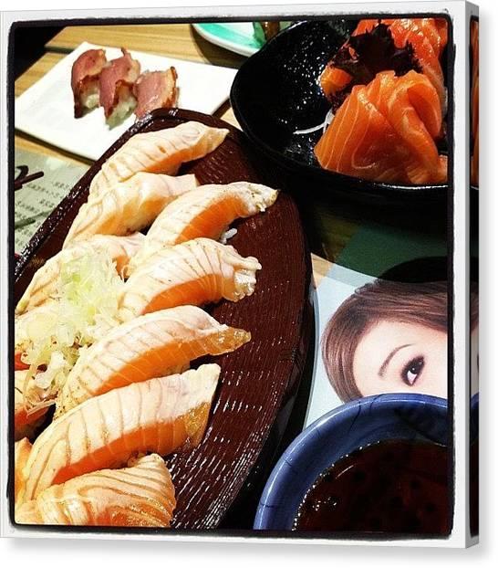 Salmon Canvas Print - So Hungry. :) #itacho #sushi #roasted by Jasmine Lu