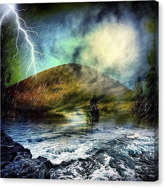 Volcanoes Canvas Print - So Lying Underneath Those Stormy Skies by Judi Lacanlale