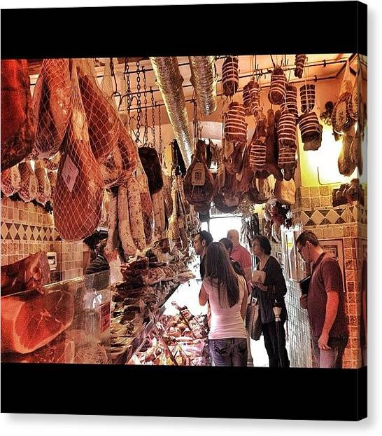 Meat Canvas Print - So Stuffed From Our Food Tour With by Erica Kuschel