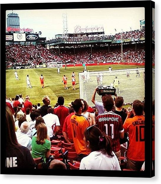 Athlete Canvas Print - Soccer At Fenway by Rebecca Shinners