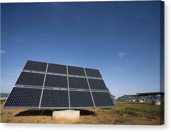 Solar Farms Canvas Print - Solar Park, Ciudad Real, Spain by Carlos Dominguez
