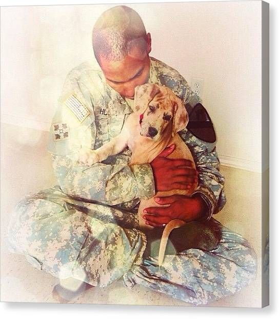 Soldiers Canvas Print - Soldier And His Dog by Samantha Huynh