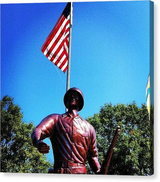 Soldiers Canvas Print - Soldierandflag by Jeff Kincade