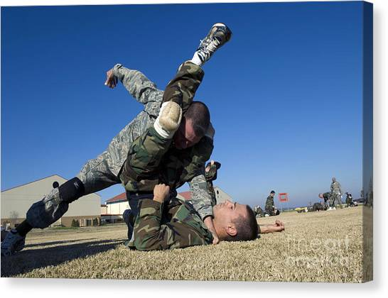 Jujitsu Canvas Print - Soldiers Demonstrate Proper Grappling by Stocktrek Images