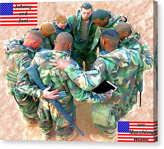 soldiers Praying Canvas Print by Terri Mertz