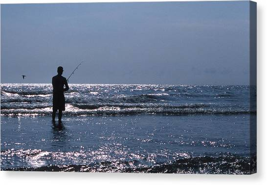 Angler Art Canvas Print - Solitary Angler by Skip Willits