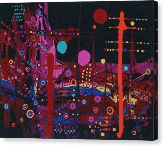 Sometimes I Even Dream In Neon Canvas Print by Charlotte Nunn