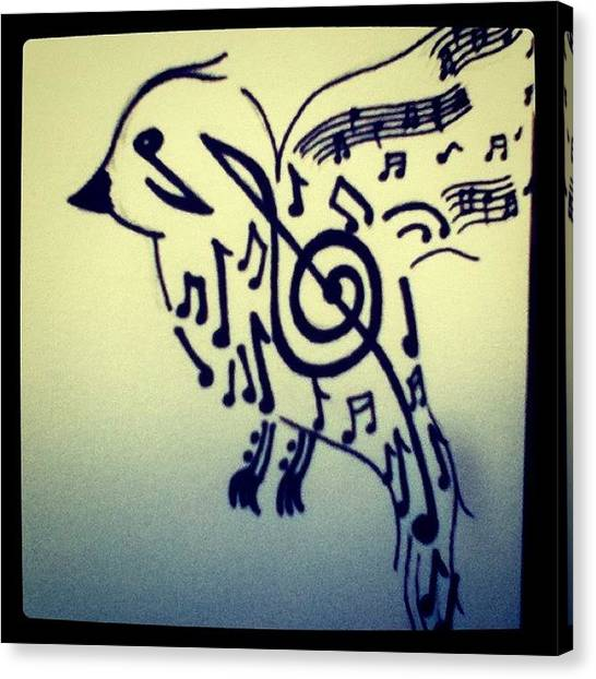 Robins Canvas Print - Songbird (: #bird #sharpie #drawing by Tiffany Harned