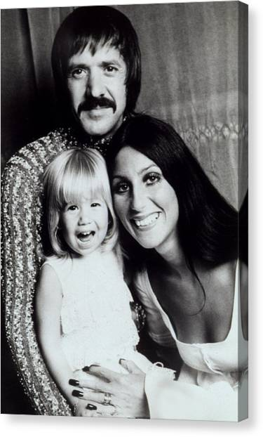 Bono Canvas Print - Sonny & Cher With Daughter Chastity by Everett