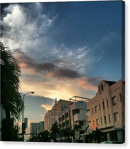 Art Deco Canvas Print - South Beach Miami by Lindsay Bell