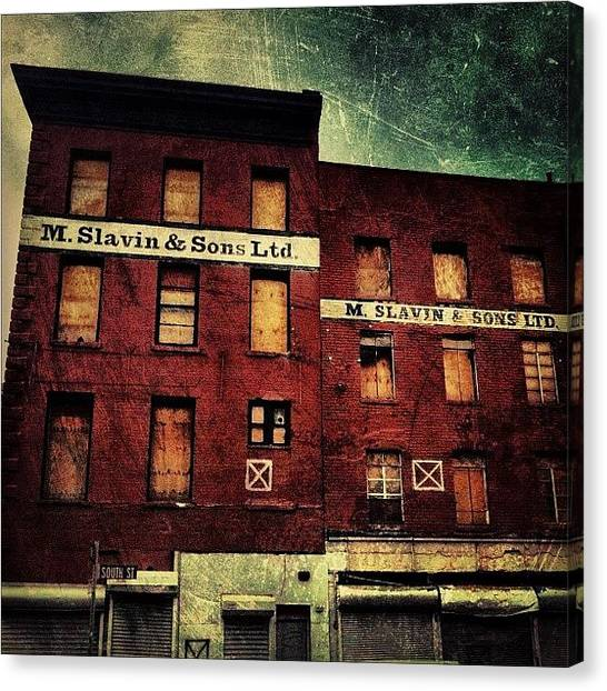 Vintage Canvas Print - South Street Seaport. #nyc by Luke Kingma