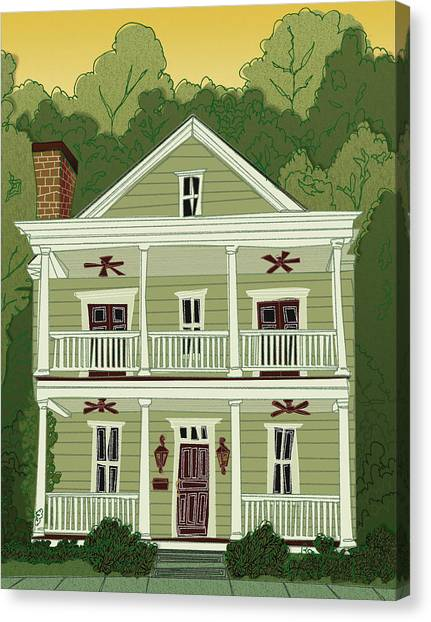 Canvas Print featuring the digital art Southern Home 2 by John Gibbs