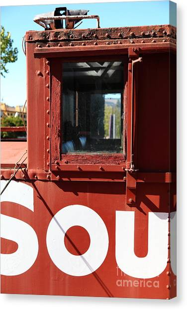 Old Caboose Canvas Print - Southern Pacific Caboose - 5d19235 by Wingsdomain Art and Photography