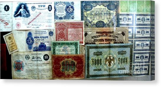 Soviet Currency At Euthimiev Monastry Prison Museum Canvas Print by Padamvir Singh