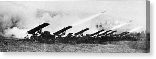 Katyusha Canvas Print - Soviet Katyusha Rocket Launchers, 1942 by Ria Novosti