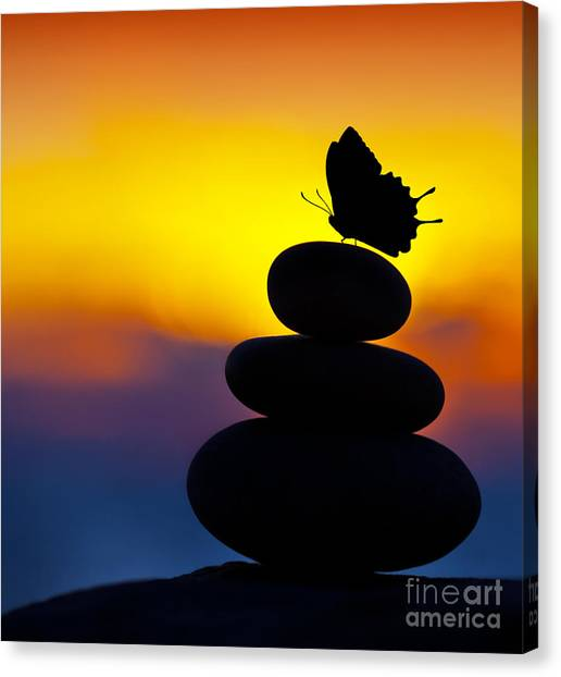 Spa Stones Balance Canvas Print by Anna Om