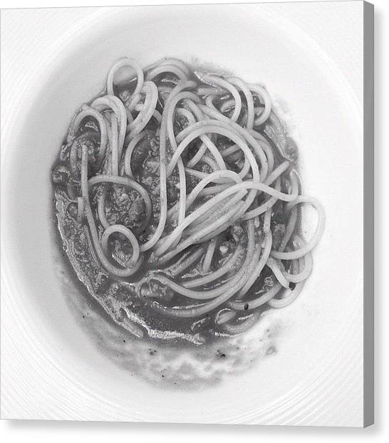 Spaghetti Canvas Print - #spaghetti #bolognese #lunch #food by Jerry Tang