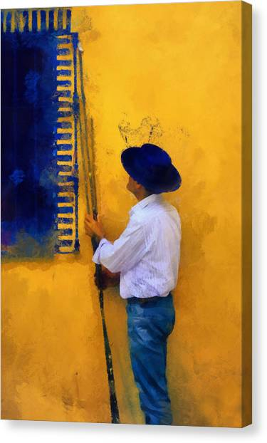 Spanish Man At The Yellow Wall. Impressionism Canvas Print