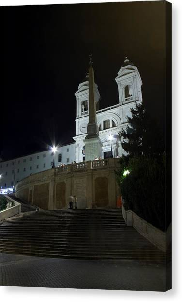 Spanish Steps At Night Canvas Print