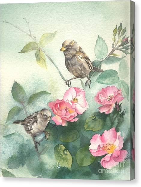 Sparrows And Dog Rose Canvas Print