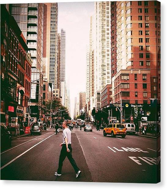 Times Square Canvas Print - Speed Of Life - New York City Street by Vivienne Gucwa