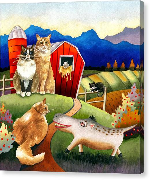 Spike The Dhog Meets Some Well Fed Barncats Canvas Print by Anne Gifford