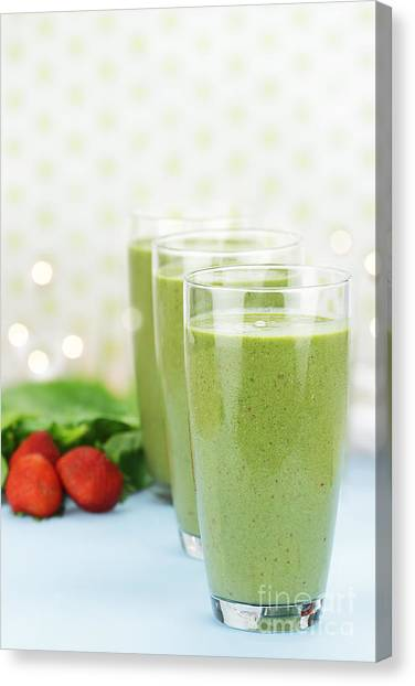 Smoothie Canvas Print - Spinach Smoothie by Stephanie Frey