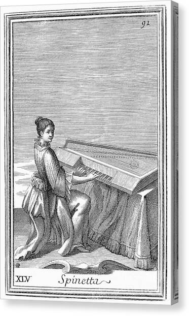 Harpsichords Canvas Print - Spinet, 1723 by Granger