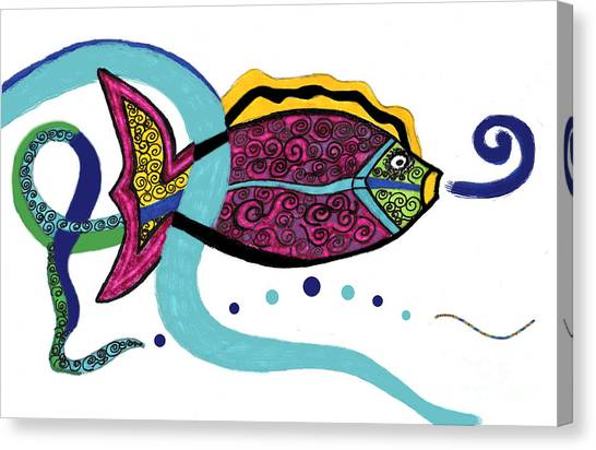 Spiral Fish Canvas Print by Christine Perry