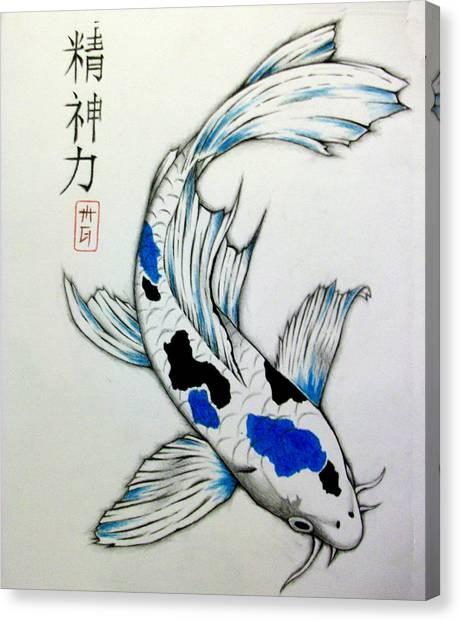 Koi Pond Canvas Print - Spiritual Strength Koi by Matt Greganti