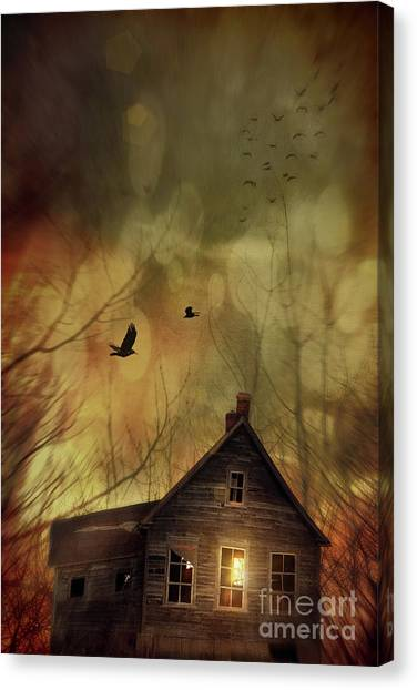 Old Houses Canvas Print - Spooky House At Sunset  by Sandra Cunningham