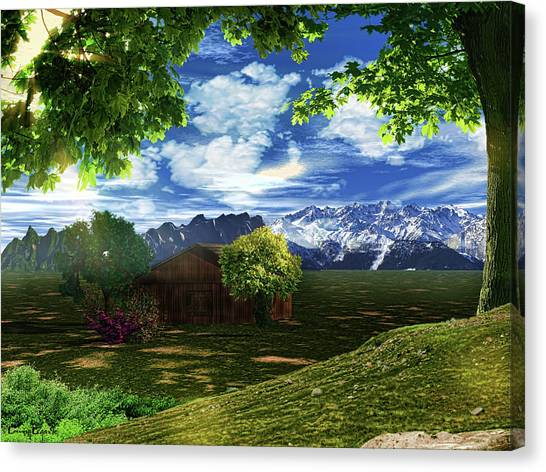 Old Houses Canvas Print - Spring Dawn by Lourry Legarde