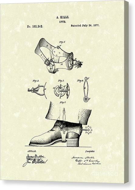 Spurs Canvas Print - Spur 1877 Patent Art by Prior Art Design