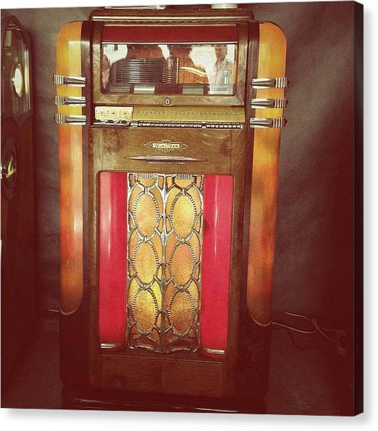 Jukebox Canvas Print - Séquence Nostalgie 1/2 #jukebox #music by Val Lao