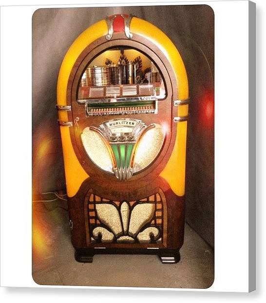 Jukebox Canvas Print - Séquence Nostalgie 2/2 #jukebox #music by Val Lao