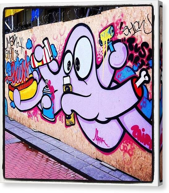 Squids Canvas Print - Squid Amsterdam #graffiti #art #street by Sebastiaan Van der Graaf