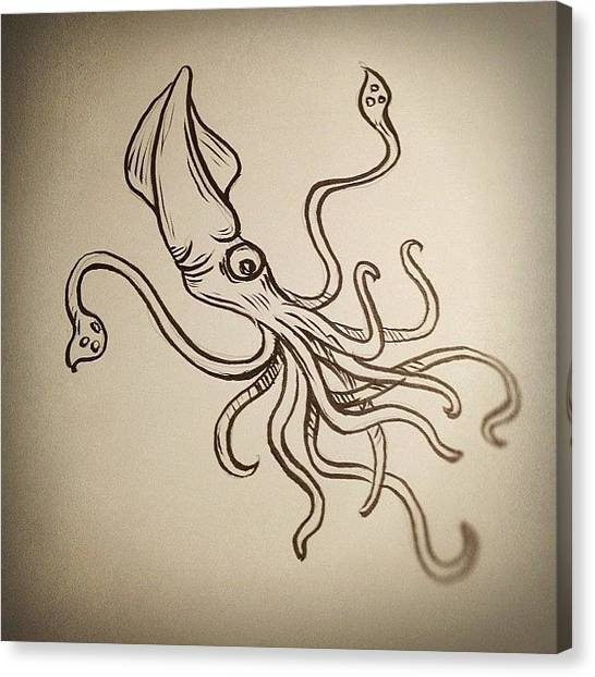 Squids Canvas Print - #squid #sketch by Jeff Reinhardt