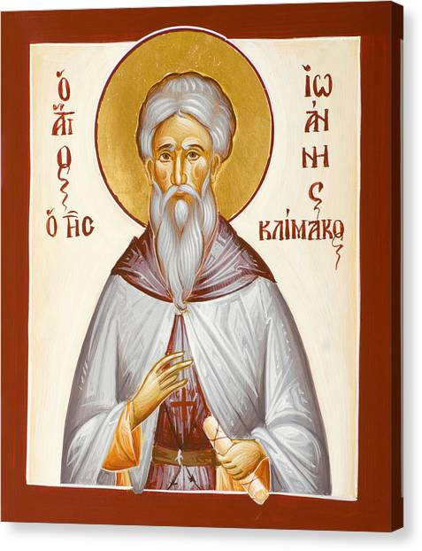 Ladder Of Divine Ascent Canvas Print - St John Climacus by Julia Bridget Hayes