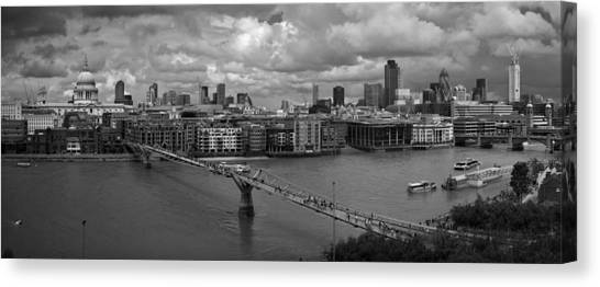 St Paul's And The City Panorama Bw Canvas Print