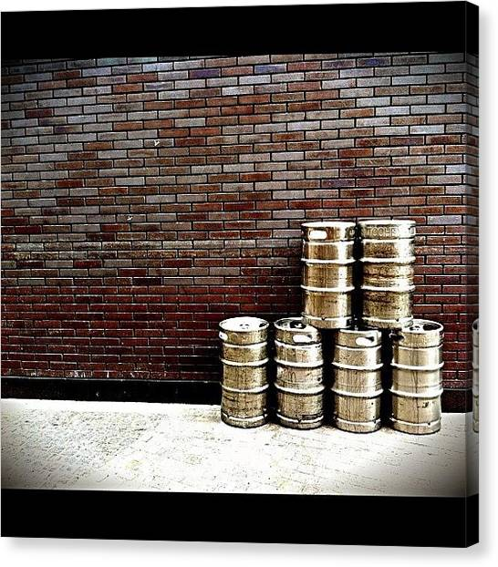 Beer Canvas Print - Stacked And Ready. #pubs #beer #kegs by Matthew Vasilescu