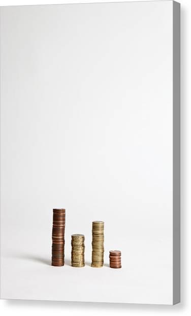 Stacks Of Various European Union Coins Canvas Print by Halfdark
