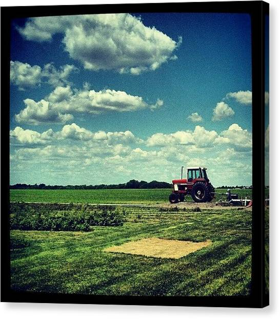 Tractors Canvas Print - #stade #farm #tractor #clouds #sky by Crystal LaTessa