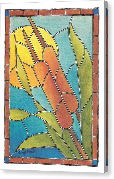 Stained Glass Cattails Canvas Print