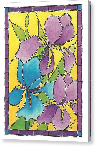 Stained Glass Iris Canvas Print