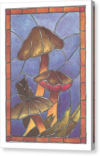 Stained Glass Mushrooms Canvas Print