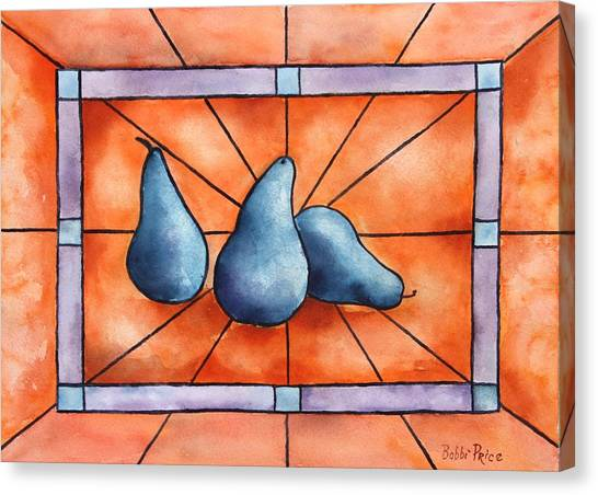 Stained Glass Pears Canvas Print by Bobbi Price
