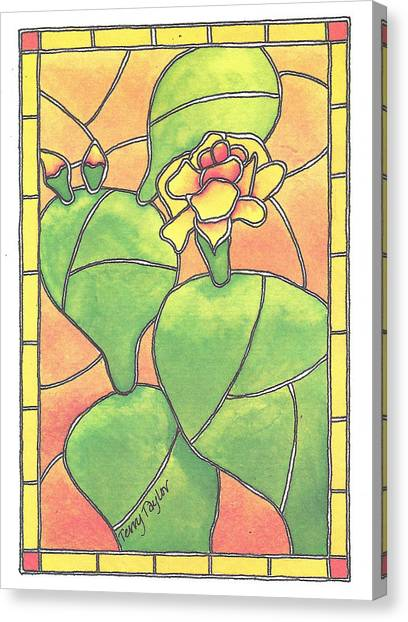 Stained Glass Prickly Pear Canvas Print