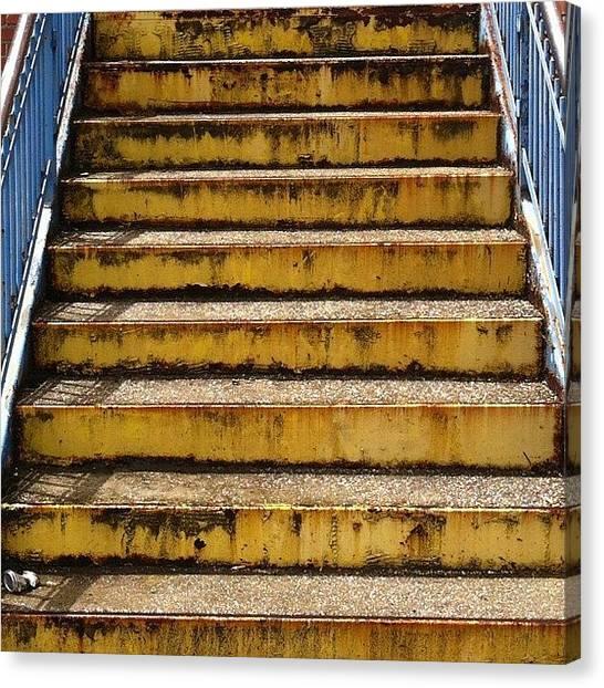 Back Canvas Print - #stairs #steps #concrete #blueandyellow by T C