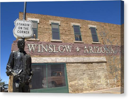 Collectors Corner Canvas Print - Standin On The Corner In Winslow Arizona by Bob Christopher